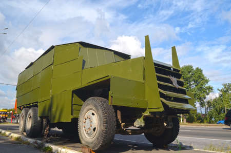 shush: KIEV, UKRAINE - September 08, 2015: Improvised armored fighting vehicle for Civil War. Model Shush-Panzer. Editorial