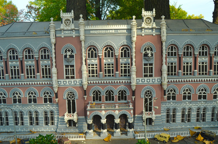 establishment states: KIEV, UKRAINE - September 23, 2015: Entertaiment Park Ukraine in Miniature Small scale Ukraine.National Bank of Ukraine.Real building constructed between 1902 and 1934. Editorial