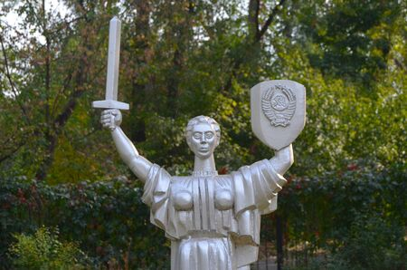 entertaiment: KIEV, UKRAINE - September 23, 2015: Entertaiment Park Ukraine in Miniature Small scale Ukraine.Statue of the Motherland in Kiev Editorial