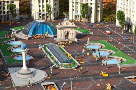 entertaiment: KIEV, UKRAINE - September 23, 2015: Entertaiment Park Ukraine in Miniature Small scale Ukraine.Main street Khreshatyk Editorial