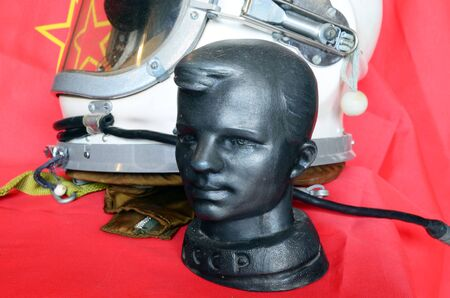 yuri: Vintage Soviet table size metal sculpture of Yuri Gagarin.First man in Space.At April 6,2016 in Kiev, Ukraine Editorial