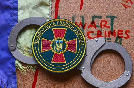 emblem of ukraine: Chevron of Ukrainian army. Editorial