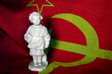 emblem of ukraine: Vintage Soviet table size porcelain sculpture of Lenin at childhood. Editorial