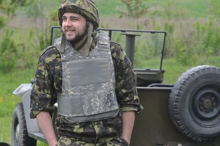 batall�n: An unidentified person wears modern Ukrainian nazionalist battalion uniform Editorial