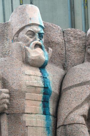 ukrainian: Ukrainian vandalism. (Ukrainian nazionalists have tradition to vandalise monuments)