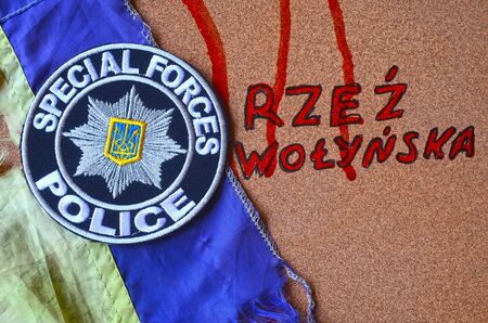 nazi flag: Chevron of Ukrainian new pro-american police.June 7,2016 in Kiev, Ukraine Editorial