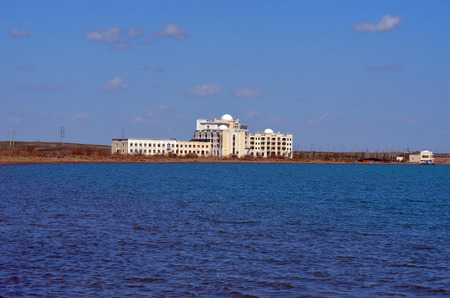 lia: Resort Balkhash, Balkhash lake, central Kazakhstan.Near Priozersk - former Soviet anti-ballistic missile testing range Sary Shagan.May 11, 2017.Priozersk.Kazakhstan Editorial