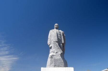 Former Soviet anti-ballistic missile testing range Sary Shagan.Lenin monument from Soviet time.May 10, 2017.Priozersk.Kazakhstan