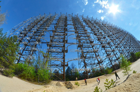Chernobyl-2.Duga radar. Russian woodpecker. Legacy of ex Soviet cold war times. Chernobyl exclusion zone. Zone of radioactivity.May 19, 2017.Kiev region.Ukraine