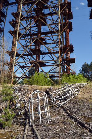 Chernobyl-2.Duga radar. Russian woodpecker. Legacy of ex Soviet cold war times. Chernobyl exclusion zone. Zone of radioactivity.May 19, 2017.Kiev region.Ukraine