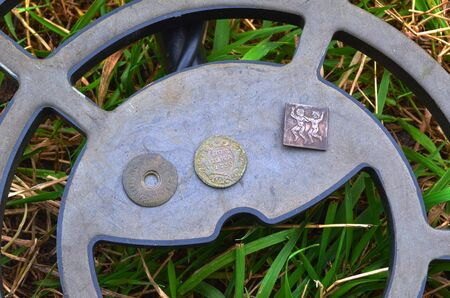 Found with metal detector near Kiev.Russian coin of 1730 and other items