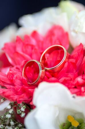 Golden wedding rings are on the petals of a bridal bouquet of chrysanthemums Stock Photo