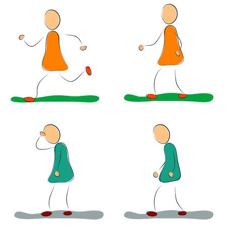 depression: Vector illustration. Drawing. Four positive and depression female icons Illustration