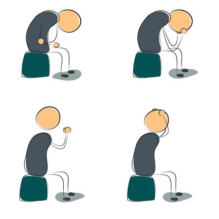 Quatre icône déprimé assis homme. Vector illustration