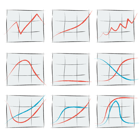 rise fall: Vector illustration. Drawing. Nine growth chart with the rise and fall