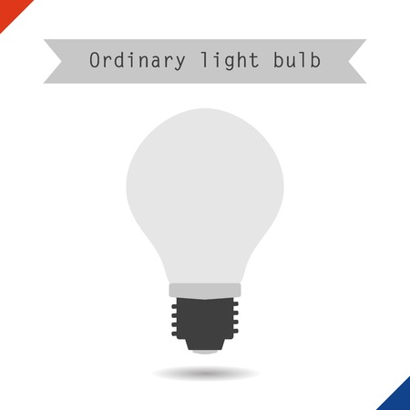 ordinary: Vector illustration. Flat style. Icon ordinary light bulb
