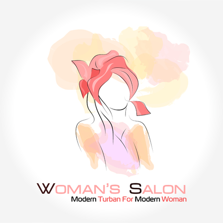 turban: Vector illustration. Drawing. Silhouette woman in a turban with watercolor background