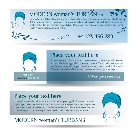 turban: Vector illustration. Drawing. Template three small flyers with woman in turban for discount