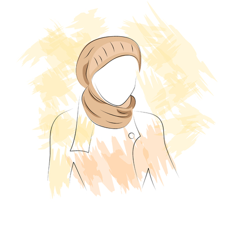 woman in scarf: Vector illustration. Drawing. Silhouette of woman in the hat and scarf Illustration