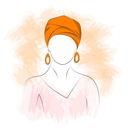 turban: Vector illustration. Drawing. Arabic woman in a turban
