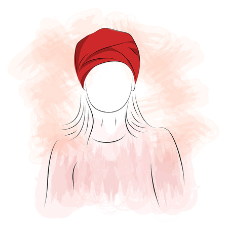 turban: Vector illustration. Drawing. Silhouette of woman in red turban