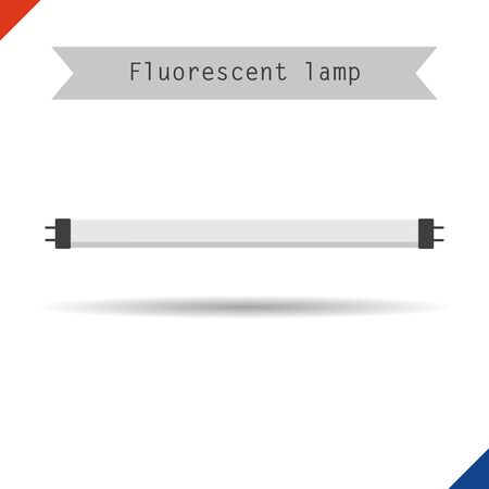 lighting button: Vector illustration. Flat style. Icon long fluorescent phyto light lamp for plants