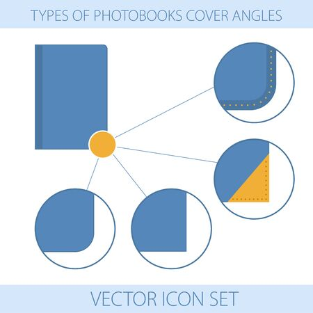 printing house: Vector illustration. Icons. Set of type of photobooks cover angles Illustration