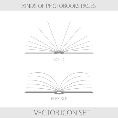 printing house: Vector illustration. Icons. Monochrome two types of photobooks page