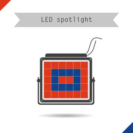 spotlight lamp: Vector illustration. Flat style. Icon. Spotlight lamp for plants Vettoriali