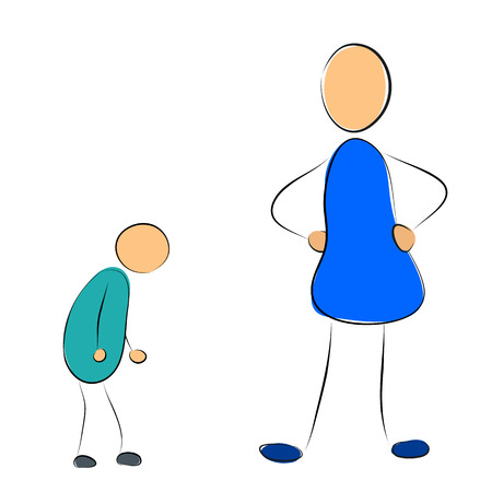 instructs: Vector illustration. Drawing. Mother instructs her son