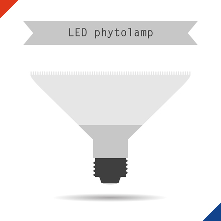 lighting button: Vector illustration. Flat style. Icon. LED phytolamp for plants Illustration