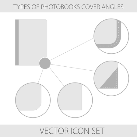 angles: Vector illustration. Icons. Set of type of photobooks cover angles Illustration