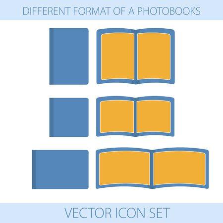 formats: Vector illustration. Icons. Set of different formats of photobooks Illustration