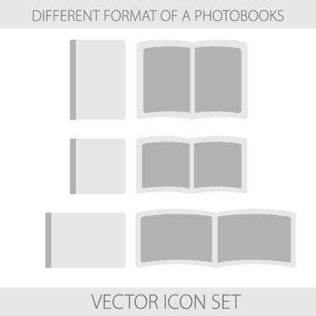 Vector illustration. Icons. Monochrome set of format of photobooks