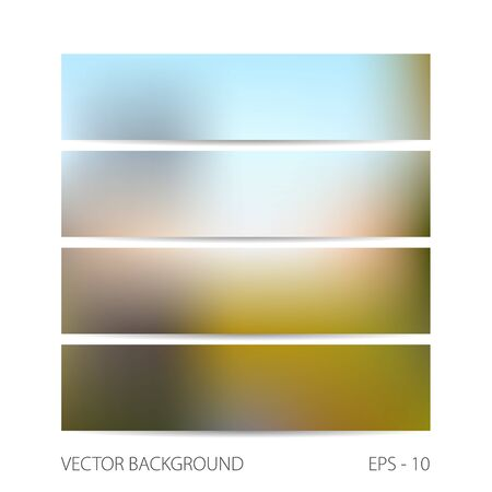 unfocused: Vector illustration. Template four horizontal banners with blurred background