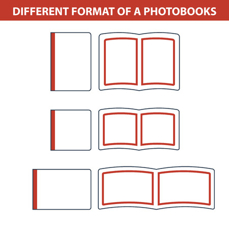formats: Vector illustration. Icons. Set of different formats photobooks Illustration