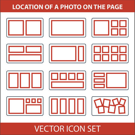 format: Vector illustration. Set different location photos on page photobook Illustration