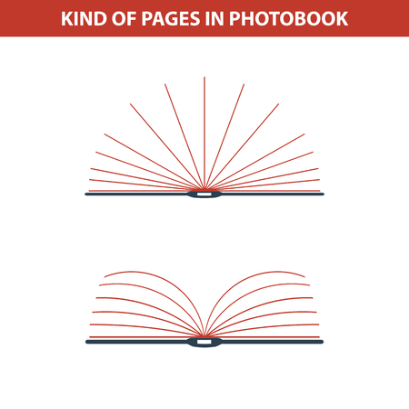 publisher: Vector illustration. Icons of two type of photobooks page
