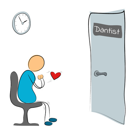 trembling: Vector illustration. Drawing. Man sitting at the door of the dentist and fears Illustration