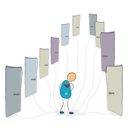 Vector illustration. Drawing. Social phobia - man near many closed doors