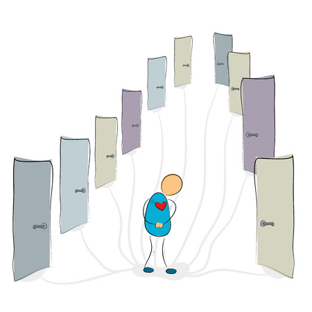 obscurity: Vector illustration. Drawing. Social phobia - man near many closed doors