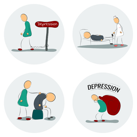 bagful: Vector illustration. Drawing. Icon set man in depression