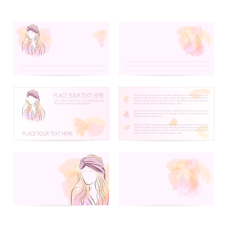 turban: Vector illustration. Drawing. Template six card with woman in pink turban