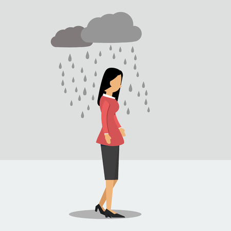 Vector illustration. Walking woman in depression in the rain Stock Illustratie