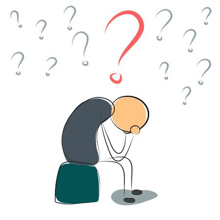 Illustrazione vettoriale. Disegno. Uomo depresso con molte domande Vettoriali