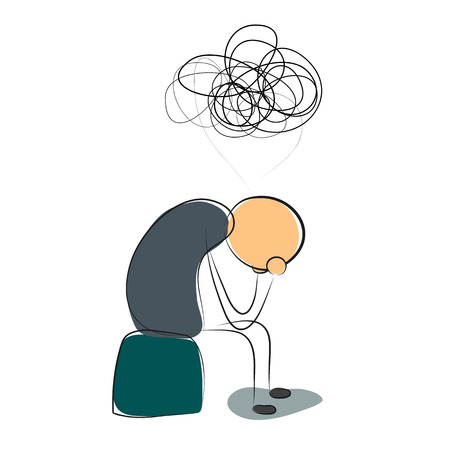Vector illustration. Drawing. Sitting depressed man with many thoughts