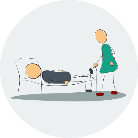 boredom: Vector illustration. Drawing. Woman near depressed man in the bed Illustration