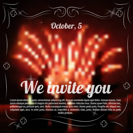 exhilaration: Vector illustration. Drawing. Sample template of invitation to celebration with blurred background fireworks