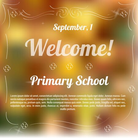 primary school: Vector illustration. Drawing. Sample template of invitation to primary school with blurred background