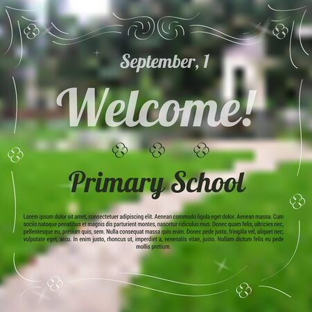 white back: Vector illustration. Drawing. Sample template of invitation to primary school with blurred background